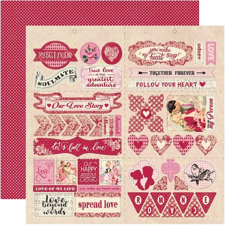"Authentique - Romance Collection - 12""x12"" Elements Die Cut Sheet"