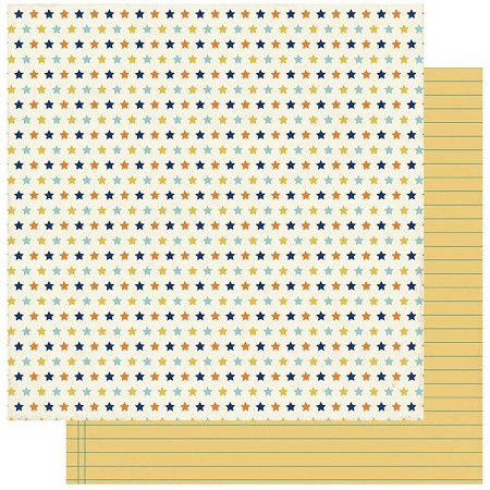 "Authentique - Scholastic Collection - Two, Stars/Yellow Ruled - 12""x12"" Double Sided Cardstock"