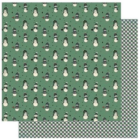 "Authentique - Snowfall Collection - One, Snowmen wearing sweaters/Green gingham - 12""x12"" Double Sided Cardstock"