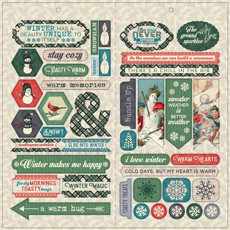 "Authentique - Snowfall Collection - 12""x12"" Die Cut Elements"