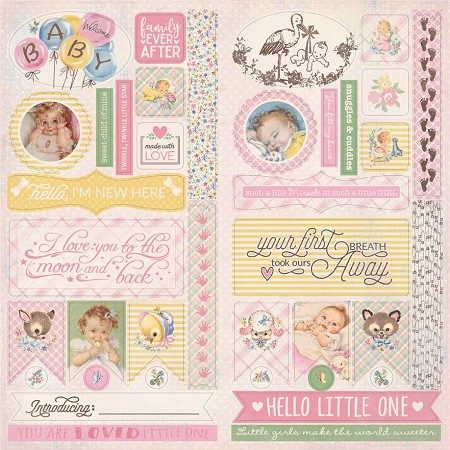 "Authentique - Swaddle Girl Collection - 12""x12"" Details Die-Cut Sheet"