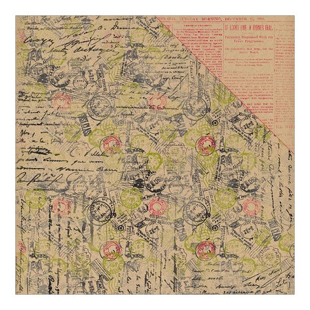 "Authentique - Tidings Collection - 12""x12"" Double Sided Cardstock - Tidings Five Signed Collage/Red & Kraft Newsprint"