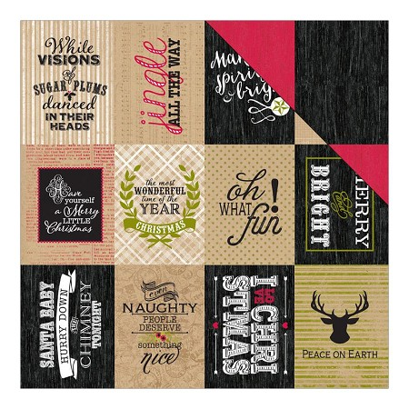 "Authentique - Tidings Collection - 12""x12"" Double Sided Cardstock - Tidings Thirteen Enhancements 3""X4"" Cut-Apart Cards/Wood"