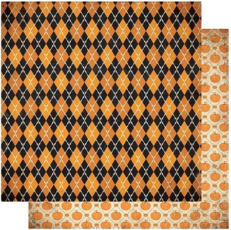 "Authentique - Twilight Collection - One, harlequin/pumpkins - 12""x12"" Double Sided Cardstock"