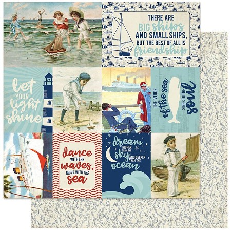 "Authentique - Voyage Collection - Eleven, Cut-Aparts journaling cards/Seaweed - 12""x12"" Double Sided Cardstock"