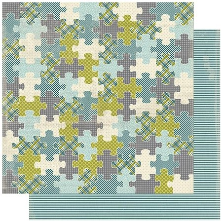 "Authentique - Youngster Collection - Four, Stripes/Puzzle - 12""x12"" Double Sided Cardstock"