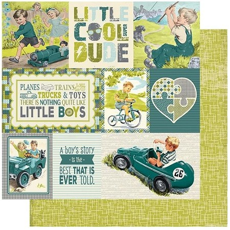 "Authentique - Youngster Collection - Six, Crosshatch/Cut-Aparts - 12""x12"" Double Sided Cardstock"