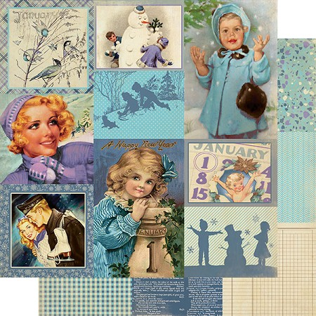 "Authentique - Calendar Collection - January Images - 12""x12"" Double Sided Cardstock"