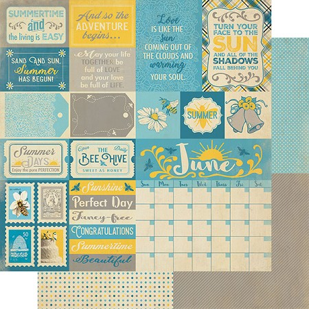 "Authentique - Calendar Collection - June Sentiments - 12""x12"" Double Sided Cardstock"