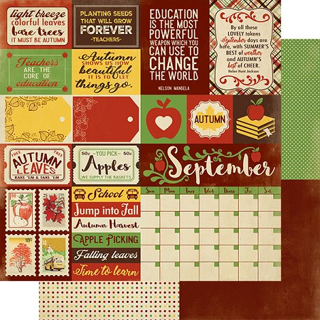"Authentique - Calendar Collection - September Sentiments - 12""x12"" Double Sided Cardstock"
