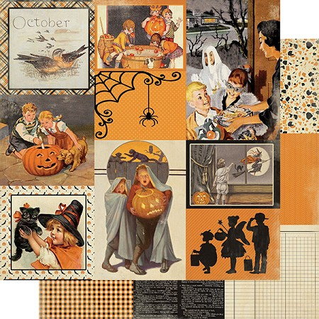 "Authentique - Calendar Collection - October Images - 12""x12"" Double Sided Cardstock"
