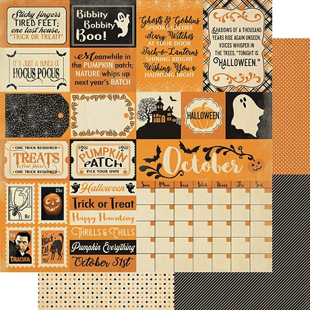 "Authentique - Calendar Collection - October Sentiments - 12""x12"" Double Sided Cardstock"