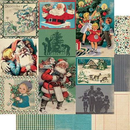"Authentique - Calendar Collection - December Images - 12""x12"" Double Sided Cardstock"