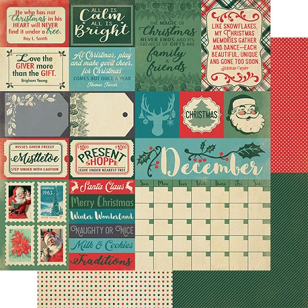 "Authentique - Calendar Collection - December Sentiments - 12""x12"" Double Sided Cardstock"