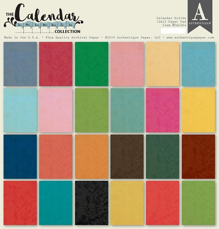 Authentique - Calendar Collection - Solids 12x12 paper pad