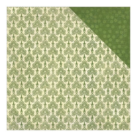 "Authentique - Charmed Collection - 12""x12"" Double Sided Cardstock - #2 Celtic Knot Clovers/Tonal On Tone Dot"