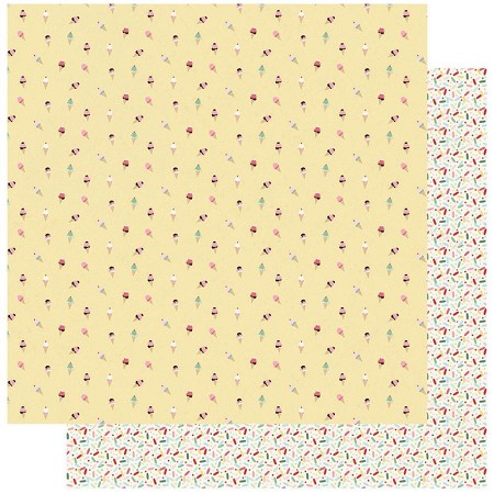 "Authentique - Confection Collection - Three, Ice cream cones/sprinkles - 12""x12"" Double Sided Cardstock"