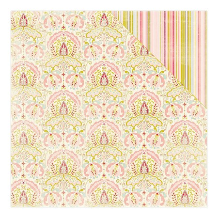 "Authentique - Cuddle Girl Collection - 12""x12"" Double Sided Cardstock - #3 Intricate Damask/Thin Vertical Stripe"