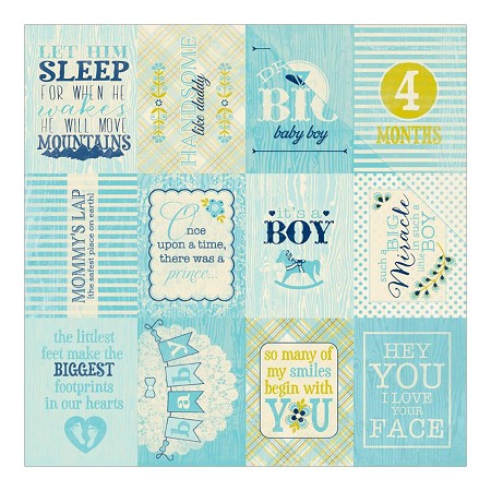 "Authentique - Cuddle Boy Collection - 12""x12"" Double Sided Cardstock - #6 Phrase/1st 12 Months Cut-Aparts 3""X4"""