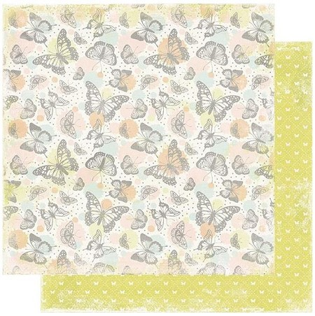 "Authentique - Dreamy Collection - Three, Pastel butterflies/Tiny butterflies - 12""x12"" Double Sided Cardstock"