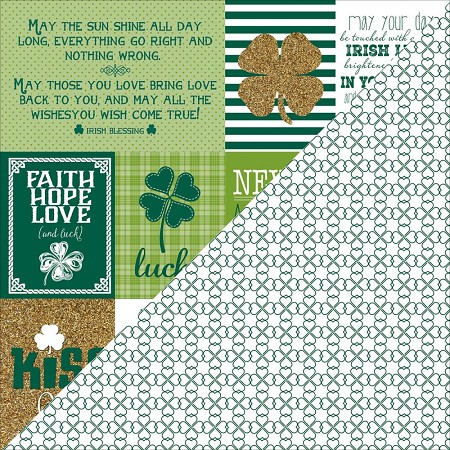 "Authentique - Emerald Collection - 12""x12"" Double Sided Cardstock - Six, Shamrock Cut-Aparts/Shamrock Outline"
