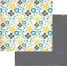Authentique-Paper-6x6-Freebird-Yellow/Blue/Grey Floral