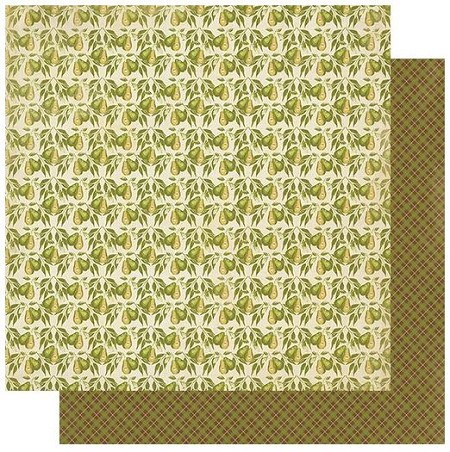 "Authentique - Gracious Collection - Two, pears/green plaid - 12""x12"" Double Sided Cardstock"