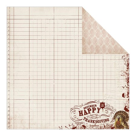 "Authentique - Grateful Collection - 12""x12"" Double Sided Cardstock - Bountiful"