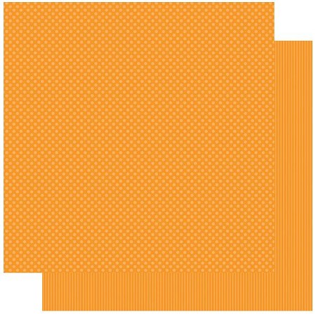 "Authentique - Spectrum Series - 12""x12"" Double Sided Cardstock - Orange Blossom Dot/Stripe"