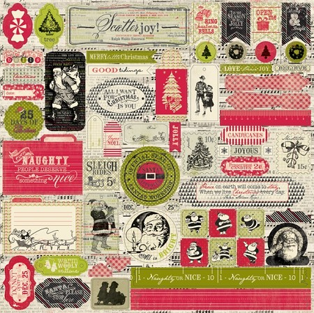 "Authentique - Joyous Collection - (12""x12"") Cardstock Sticker Sheet - Details"