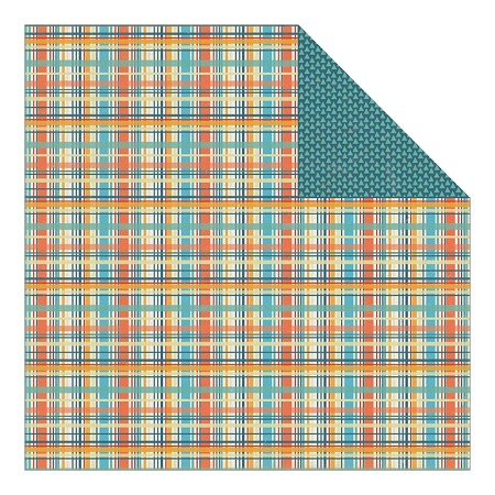 "Authentique - Playful Collection - 12""x12"" Double Sided Cardstock - Hoopla Plaid"