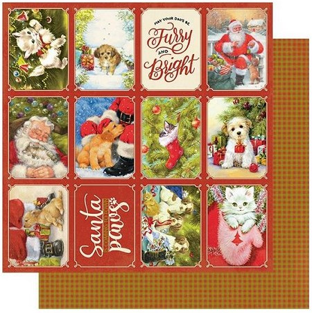 "Authentique - Christmas Greetings Collection - One, Christmas pet cut-apart/Plaid - 12""x12"" Double Sided Cardstock"