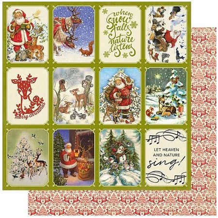 "Authentique - Christmas Greetings Collection - Two, Santa & Deer cut-aparts/red folk pattern - 12""x12"" Double Sided Cardstock"