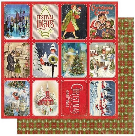 "Authentique - Christmas Greetings Collection - Three, Christmas town cut-aparts/knitted pattern - 12""x12"" Double Sided Cardstock"