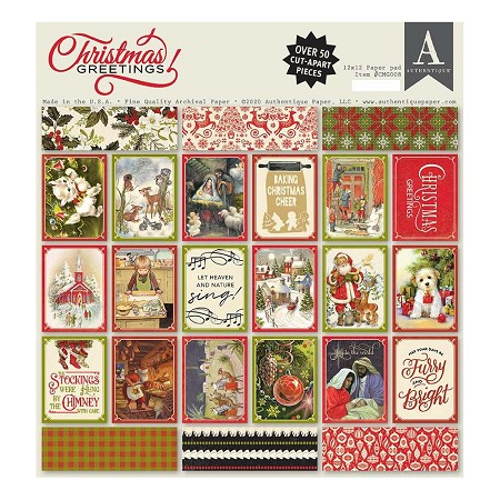 Authentique - Christmas Greetings Collection - 12x12 paper pad