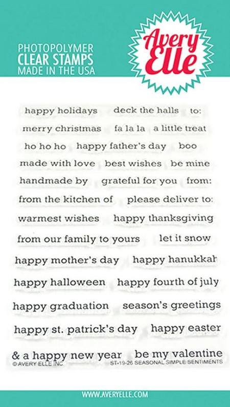 Avery Elle - Clear Stamps - Seasonal Simple Sentiments