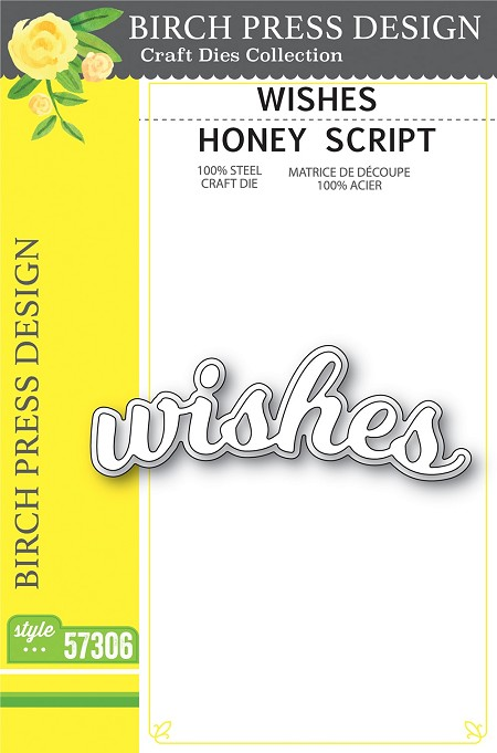 Birch Press - Cutting Die -  Wishes Honey Script