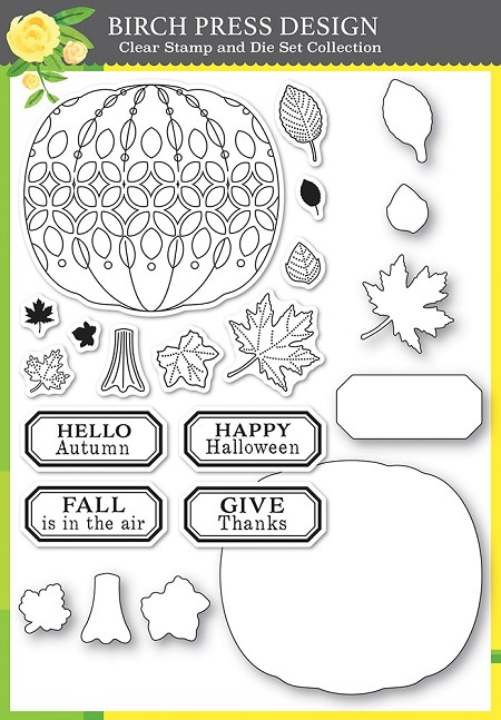 Birch Press - Clear Stamp & Die set - Pumpkin Lacework