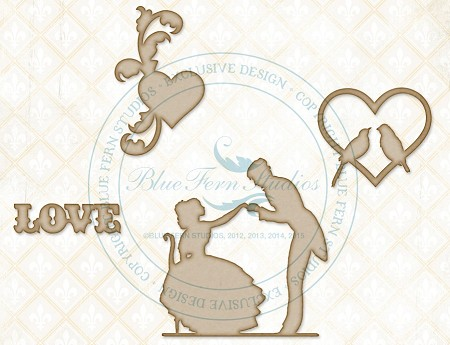 Blue Fern Studios - Chipboard - Love Story Adornments