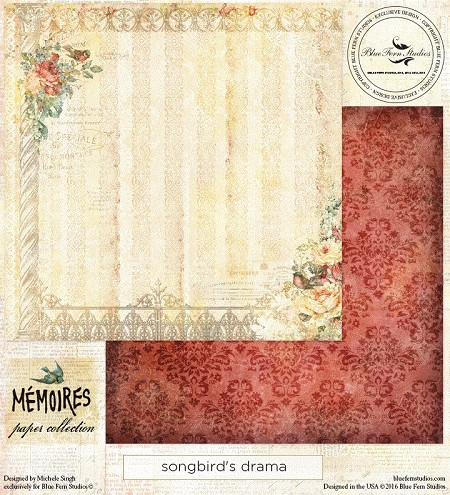 "Blue Fern Studios - Memoires Collection - 12""x12"" Double Sided Cardstock - Songbird's Drama"