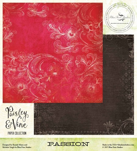 "Blue Fern Studios - Paisley & Vine Collection - 12""x12"" Double Sided Cardstock - Passion"