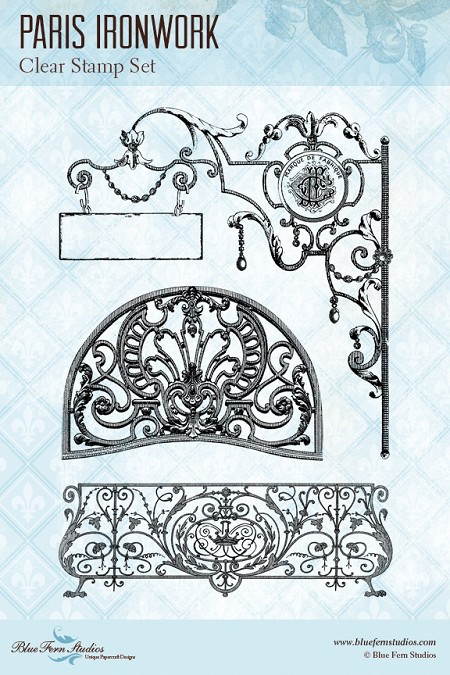 Blue Fern Studios - Clear Stamp - Parisian Ironwork