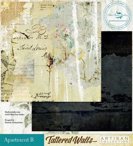 "Blue Fern Studios - Tattered Walls Collection - 12""x12"" Double Sided Cardstock - Apartment B"