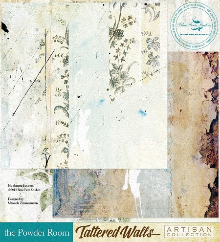 "Blue Fern Studios - Tattered Walls Collection - 12""x12"" Double Sided Cardstock - The Powder Room"