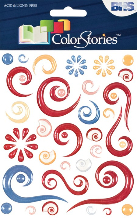 Blue Hills Studio - Color Stories - Red Epoxy Swirl Stickers