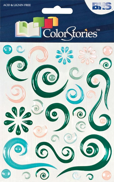 Blue Hills Studio - Color Stories - Green Epoxy Swirl Stickers