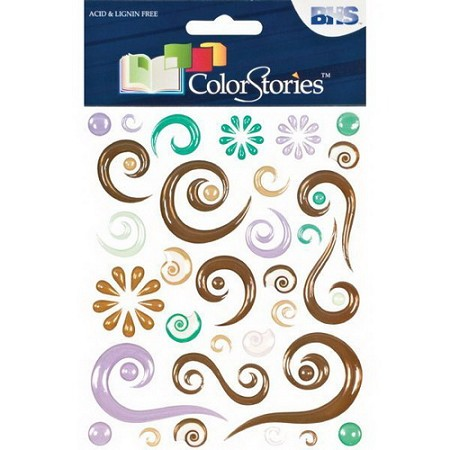 Blue Hills Studio - Color Stories - Brown Epoxy Swirl Stickers