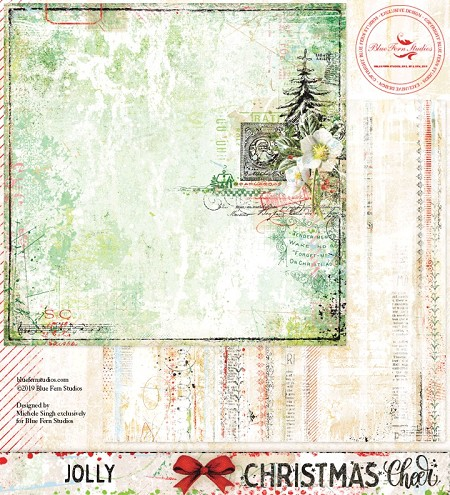 "Blue Fern Studios - Christmas Cheer Collection Jolly 12""x12"" Double Sided Cardstock"