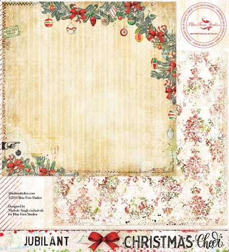 "Blue Fern Studios - Christmas Cheer Collection Jubilant 12""x12"" Double Sided Cardstock"