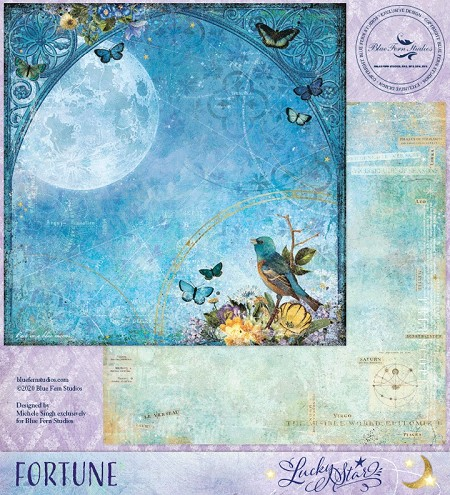 "Blue Fern - Lucky Star Fortune 12""x12"" Double Sided Cardstock"
